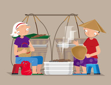 Vector Illustration Of A Roadside Itinerant Food Hawker In Vietnam