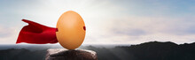 Panoramic - Brown Chicken Egg On The Mountain With Super Hero Cape