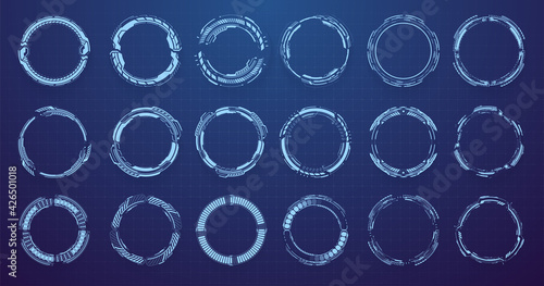 Circle HUD elements for UI, UX, GUI, FUI. Set abstract digital circular shapes. Circle Sci-fi elements on isolated blue background. Concept Futuristic User Interface for graphic motion. Vector