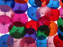 Low Angle Of Multicolored Umbrellas Covering The Street