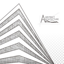 Architecture Building Construction Perspective Design, Abstract Modern Urban Building Line Drawing.