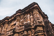 Low Angle View Of Stone Sculptures On The Walls Of Konark Sun Temple, India