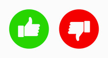Like And Dislike Vector Flat Icons. Thumbs Up And Thumbs Down Symbol.