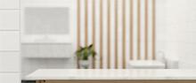 3D Rendering, Empty Marble Counter In Bathroom, Copy Space On Marble Desk In Blurred Bathroom