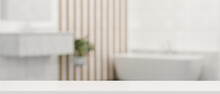 3D Rendering, Empty White Counter In Bathroom, Copy Space On White Table In Blurred Bathroom