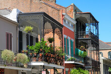 Houses And Wrought Iron Balconies In New Orleans