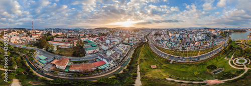Fototapeta Aerial view of Dalat city. The city is located on the Langbian Plateau in the southern parts of the Central Highlands region of Vietnam obraz