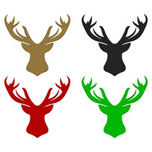 Deer Head Silhouette Vector Illustration. Deer Head With Abstract Pattern Isolated On White Background