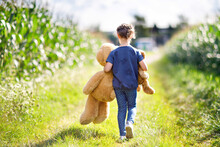 Cute Little Girl Playing With Two Push Toy Teddies. Kid Holding Huge Bear And Small Bear And Walking In Nature Landscape