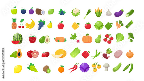 Fotografia set fresh fruits and vegetables stickers healthy food collection horizontal