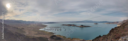 Fotografie, Obraz Panoramic shot of the Lake Mead reservoir formed by the Hoover Dam on the Colora