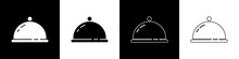 Set Covered With A Tray Of Food Icon Isolated On Black And White Background. Tray And Lid Sign. Restaurant Cloche With Lid. Vector