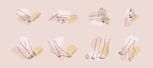 Female Hands And Feet. Manicure And Pedicure Concept. Vector Illustration In Trendy Outline Style. Design Element For Web Icons, Nail Art Studio Or Spa Salon Logo.