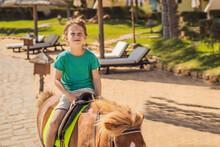Smiling, Young Boy Ride A Pony Horse. Horseback Riding In A Tropical Garden