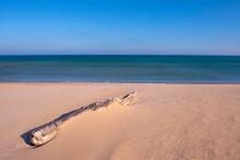 Sandy Sea View. Sea sand Background. Castro Beach, Tekirdag.