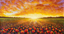 Panorama Painting Of Rural Landscape. Sunset Dawn Of Sun Over Flower Field Oil Painting With Acrylic.