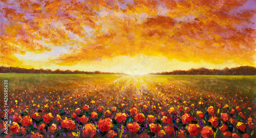 Fototapeta Panorama painting of rural landscape. Sunset dawn of sun over flower field oil painting with acrylic. obraz