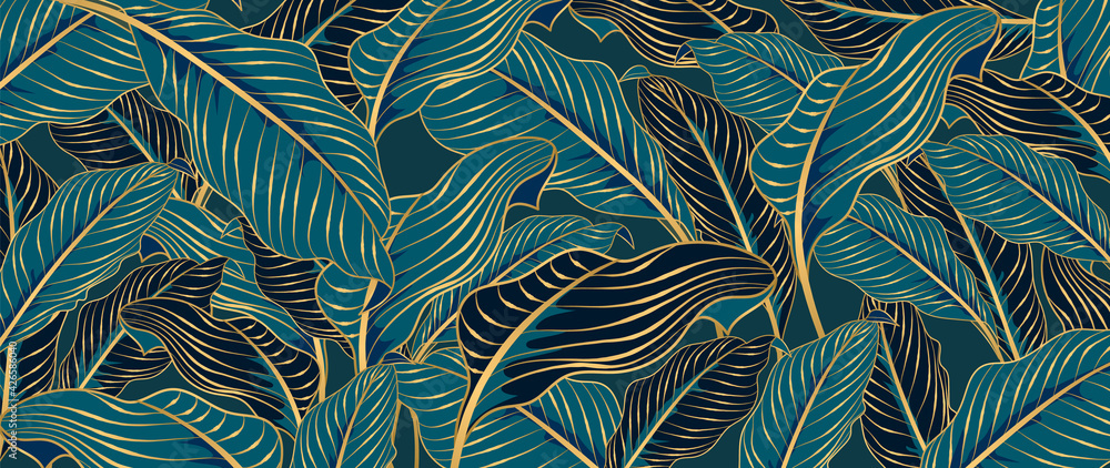 Fototapeta Green Tropical leaves background vector with golden line art texture.  Luxury wallpaper design for prints, poster, cover, invitation, packaging design background, wall art and home decoration.