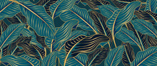 Green Tropical Leaves Background Vector With Golden Line Art Texture.  Luxury Wallpaper Design For Prints, Poster, Cover, Invitation, Packaging Design Background, Wall Art And Home Decoration.