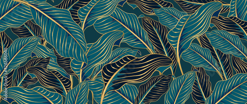 Fotografie, Obraz Green Tropical leaves background vector with golden line art texture