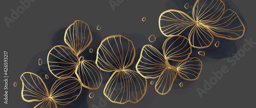 Gold abstract flower line arts background vector. Luxury wall paper design for prints, wall arts and home decoration, cover and packaging design.