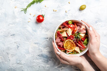 Healthy Salad With Prosciutto, Ham And Grapefruit Jamon, Salad Mix, Grapefruit, Cherry Tomatoes, Parmesan Cheese. In Plastic Package For Take Away Or Food Delivery. Place For Text, Top View