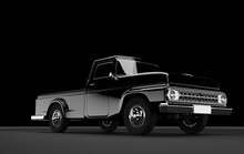 3D Rendering Of A Black Shiny Vintage Car Isolated On Black