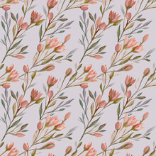 Hand-drawn Spring Seamless Pattern In Vintage Style With Pink Flowers On A Light Lilac Background