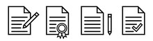 Thin Line Paper Document Icon Set. Papers Documents Isolated On White Background. File Page Vector Design Element. Vector Illustration.