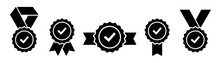 Approval Vector Icon. Approved Stamp Or Medal. Certificate Symbols Isolated On White Background. Set Premium Quality Badges With Ribbons. Vector Illustration.