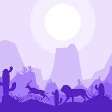 Lion Hunt Antelope Deer Animal Silhouette Desert Savanna Landscape Flat Design Vector Illustration