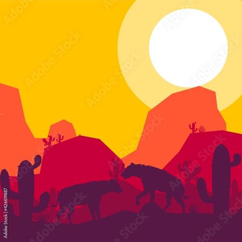 Obraz na plátně hyena animal silhouette desert savanna landscape flat design vector illustration