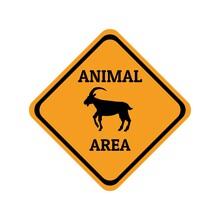 Wild Goat Animal Warning Traffic Sign Flat Design Vector Illustration