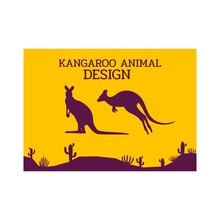 Kangaroo Jumping Animal Silhouette Flat Design Vector Illustration