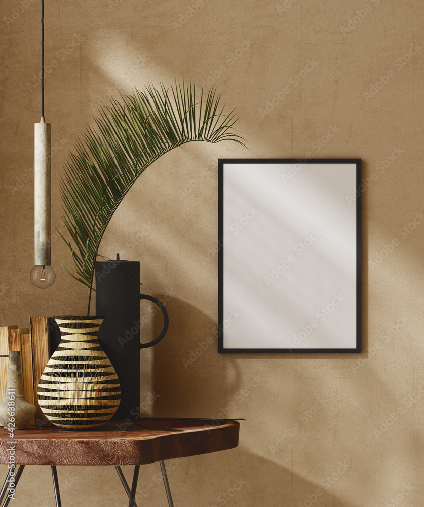 Fototapeta Mockup frame close up in nomadic home interior background, 3d render
