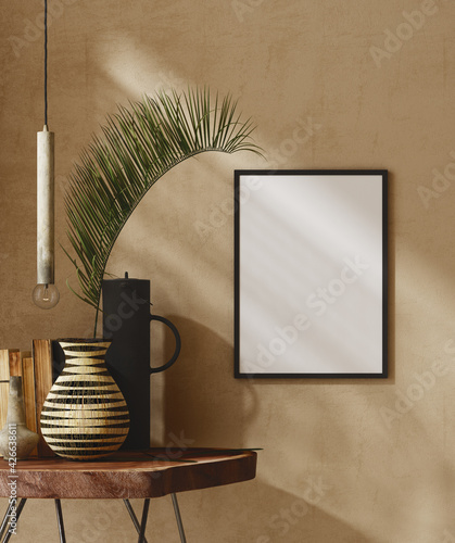 Mockup frame close up in nomadic home interior background, 3d render - fototapety na wymiar