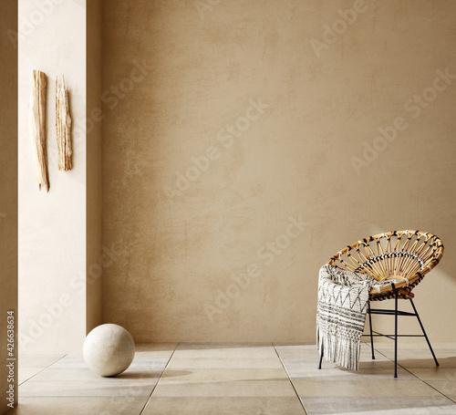 Fotografie, Obraz Contemporary nomadic home interior background in warm beige tones, 3d render