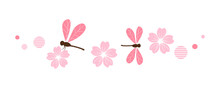 Cherry Blossom Flowers And Dragonflies On White Background Vector Illustration.