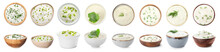 Bowls Of Tasty Sour Cream With Herbs On White Background