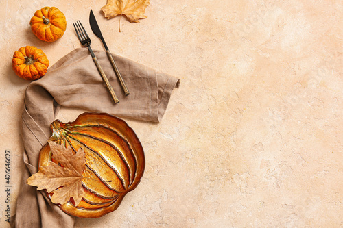 Stylish table setting for Thanksgiving Day celebration on color background