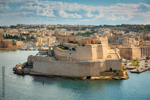 Battlement walls of the Saint Angelo Fort in Birgu, Malta