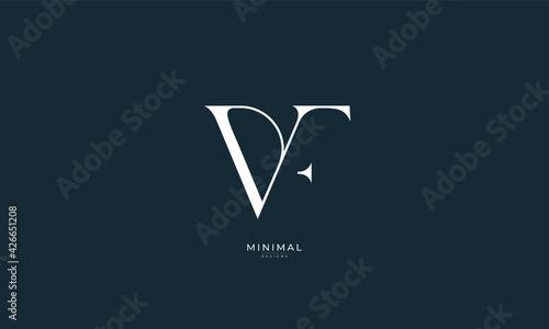 Alphabet letter icon logo VF