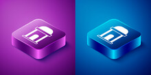 Isometric Old Crypt Icon Isolated On Blue And Purple Background. Cemetery Symbol. Ossuary Or Crypt For Burial Of Deceased. Square Button. Vector