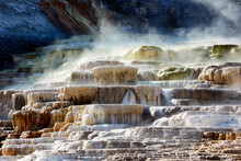 Minerva Terrace At The Mammoth Hot Springs. Yellowstone National Park. Wyoming. USA.