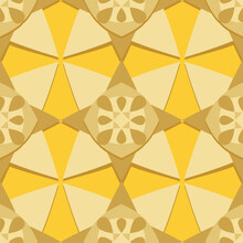 Seamless Texture. Yellow-gold Eight-pointed Stars With A Red Center On A Yellow Background.