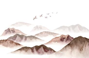 Watercolor foggy mountains landscape, fog trees, sky illustration. Winter background
