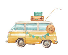 Watercolor Travel Van Illustration. Camping Cartoon Vintage Bus With Party Garland, Suitcase, Hat, Fishing Rod. Summer Vacation Card