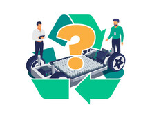 Automobile Engineers Working With Tablet Computer Solving Battery Recycle Problem On Electric Car Chassis Design. Modular Cell Platform Skateboard Module Pack Board With Green Recycling Symbol Sign.