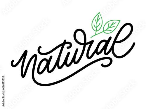 Fototapeta 100 Natural Vector Lettering Stamp Illustration slogan calligraphy obraz
