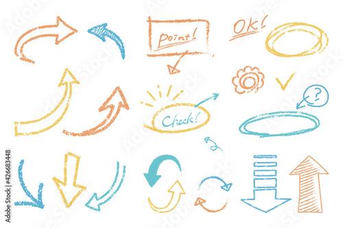 Obraz A set of handwritten arrow illustrations that look like they were drawn with crayons - fototapety do salonu